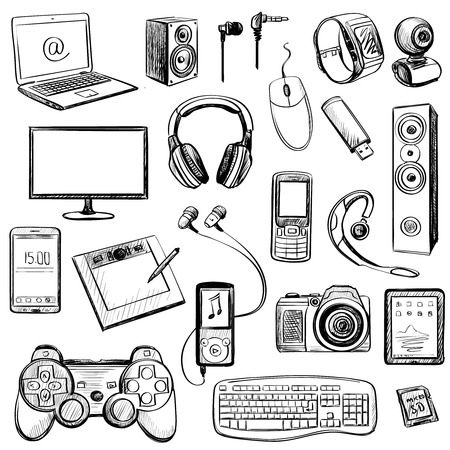 gaming: Set of hand drawn GADGET icons with notebook, phone, game pad, photo camera, tablet, pc, flash card, headphones, watches, computer, laptop, monitor, headphones and other