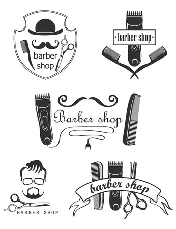 barber pole: Set of vintage barber shop emblems, label, badges and designed elements. Excellent vector illustration Illustration