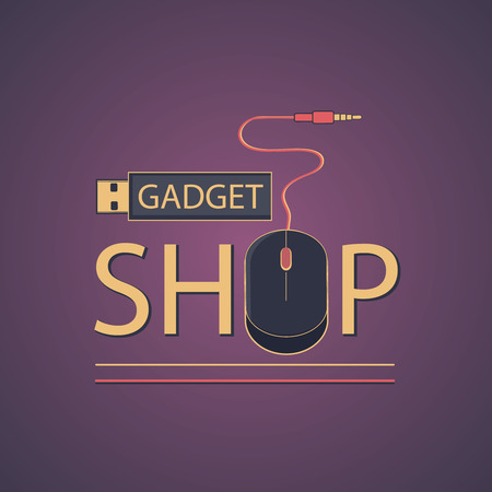 electronic gadget: Electronic gadget label for design.  Flat style vector illustration.