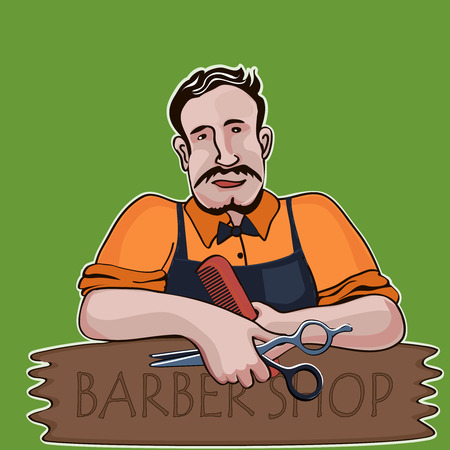 hair dryer: Hairstylist. Barber shop theme, excellent vector illustration