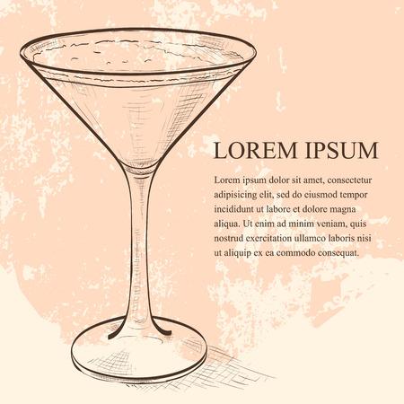brandy: Porto Flip Cocktail scetch - Ruby Port, Brandy, Cream, Syrup and Egg Yolk, Nutmegs Illustration