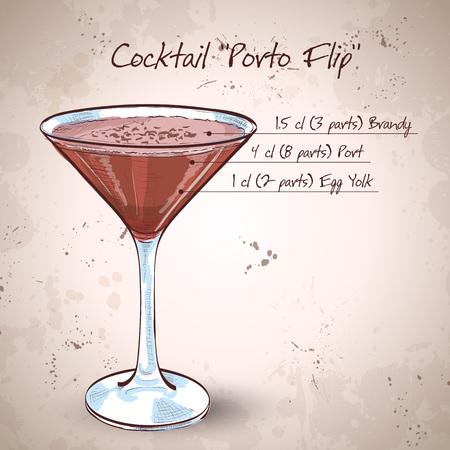 brandy: Porto Flip Cocktail - Ruby Port, Brandy, Cream, Syrup and Egg Yolk, Nutmegs