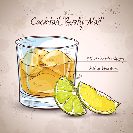scotch whisky: A image of a single Rusty Nail Cocktail- Shotlandskiy Viski, Drambui, Led v kubikakh, Limon Illustration