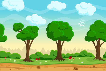 seamless sky: Illustration of a nature landscape ,with green forest and grass, vector unending background with separated layers for game.