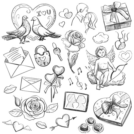 valentine s card: Set of Valentines Day icons - cupid, love, hearts, doves, gifts, candy, lovers, flowers, valentine