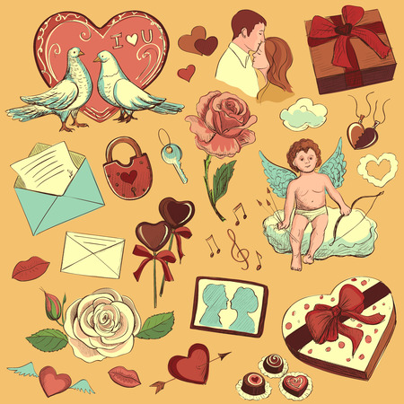 couple dating: Valentines day hand-drawn symbols collection with cupid, love, hearts, doves, gifts, candy, lovers, flowers, valentine