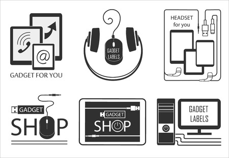 electronic gadget: Electronic gadget label for design. Computer, tablet pc, laptop, smart phone and other Flat style vector illustration.