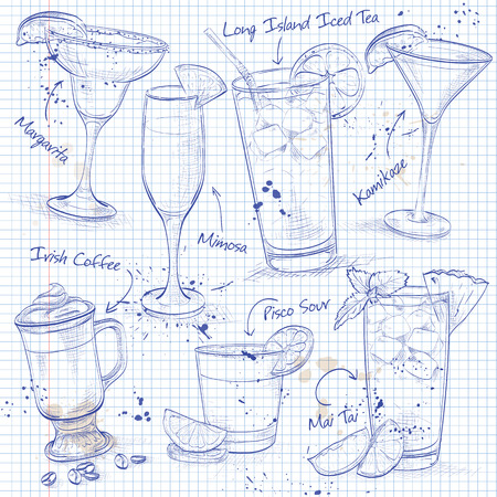 coctail: New Era Coctail Set  on a notebook page , excellent vector illustration, EPS 10
