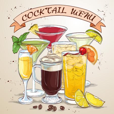 era: New Era Drinks Coctail menu, excellent vector illustration, EPS 10