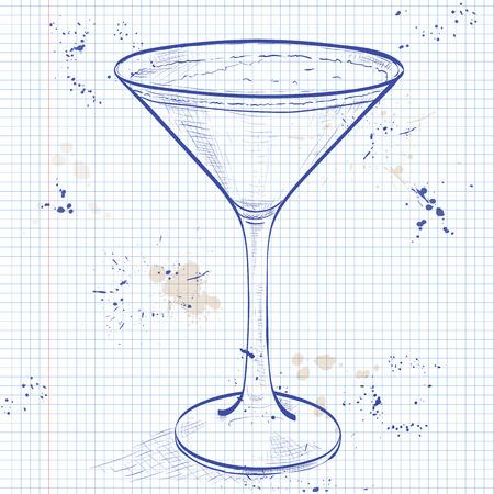 brandy: Porto Flip Cocktail on a notebook page- Ruby Port, Brandy, Cream, Syrup and Egg Yolk, Nutmegs