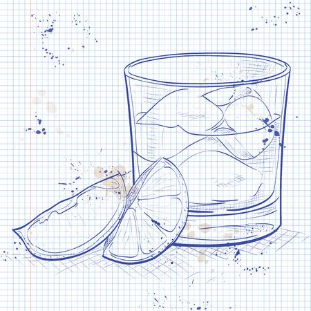 Rusty Nail Cocktail on a notebook page- Shotlandskiy Viski, Drambui, Led v kubikakh, Limon