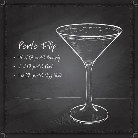 brandy: Porto Flip Cocktail on black board- Ruby Port, Brandy, Cream, Syrup and Egg Yolk, Nutmegs