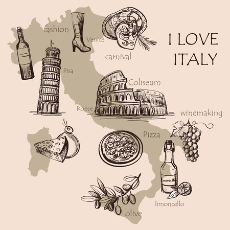 pompeii: Creative map of Italy with national italian food, sights, map and flag. Colosseum, Pompeii, Vatican, Leaning Tower of Pisa, Venice, pizza, wine, carnival mask
