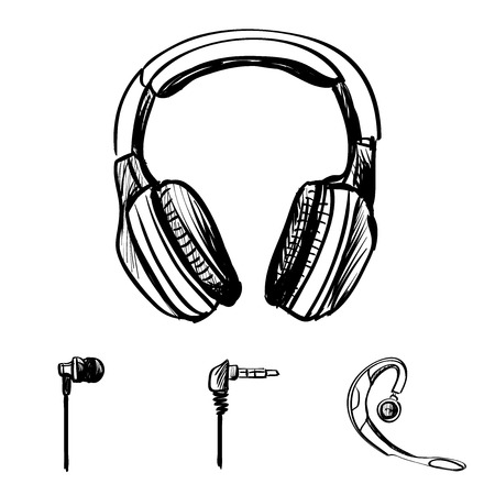 walkman: Doodle style headphones vector illustration on a white background Illustration