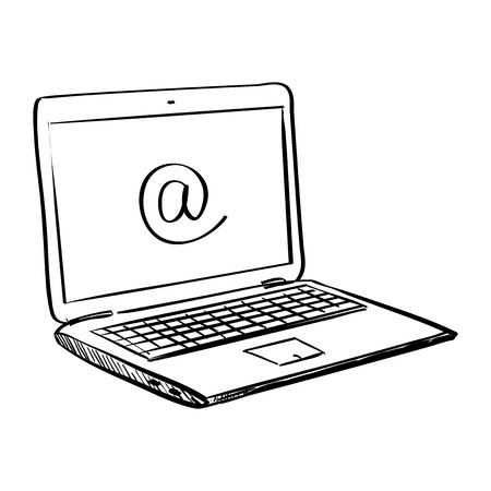 notebook computer: Hand draw doodle laptop , excellent vector illustration,