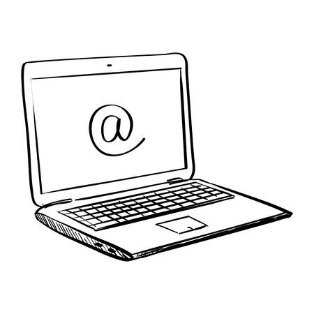 Hand zeichnen doodle Laptop, ausgezeichnete Vektor-Illustration,