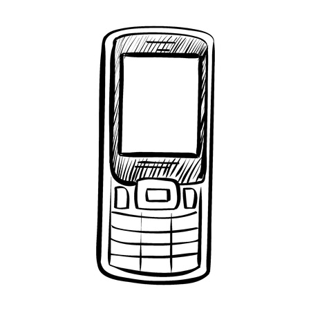 outlined isolated: Hand drawn sketch of doodle phone outlined isolated on white background.