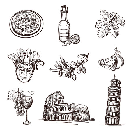 Hand drawn set of Italy - Colosseum, Pompeii, Vatican, Leaning Tower of Pisa, Venice, pizza, wine, carnival mask