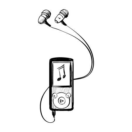 digital music: music player doodle on a white background, excellent vector illustration