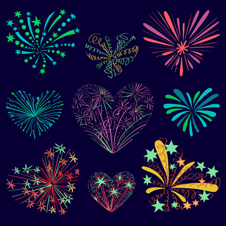 holiday music: Festive patterned firework in the shape of a heart. Sparkling pictograms. Abstract vector. Isolated illustration. Love firework