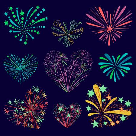 Festive modellato fuochi d'artificio a forma di un cuore. pittogrammi scintillanti. Abstract vettore. Illustrazione isolato. Amore fuochi d'artificio