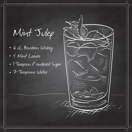 Classic Kentucky derby cocktail the Mint julep on black board. It consists of Bourbon, mint, powdered sugar, water, crushed ice