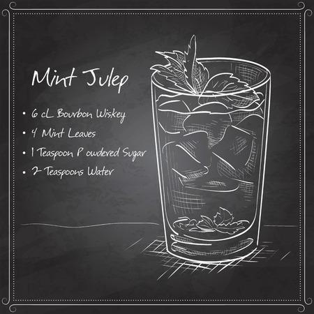 Klassische Kentucky Derby-Cocktail der Mint Julep auf schwarzem Karton. Es besteht aus Bourbon, Minze, Puderzucker, Wasser, Crushed Ice