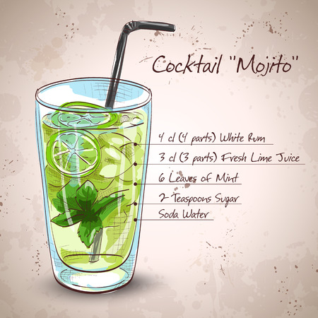 Mojito cocktail with fresh limes, mint and ice cubes Illustration