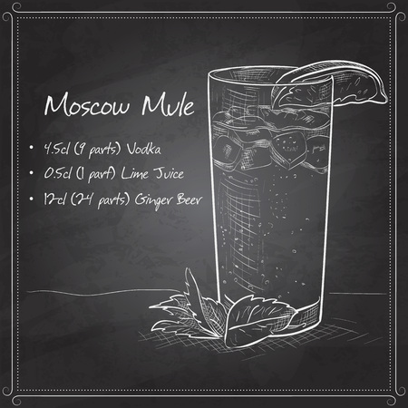 mule: Cocktail with ginger and lime Moscow Mule on black board