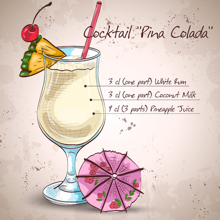 Cocktail Pina colada. It consists of light rum, pineapple juice, coconut milk, crushed, pineapple, maraschino cherry