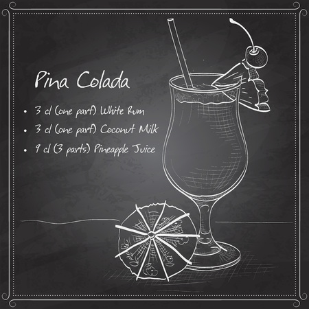 Cocktail Pina colada on black board. It consists of light rum, pineapple juice, coconut milk, crushed, pineapple, maraschino cherry Vektorové ilustrace