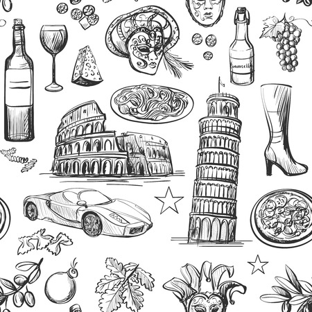 Seamless pattern of Italy with Colosseum, Pompeii, Vatican, Leaning Tower of Pisa, Venice, pizza, wine, carnival mask Vettoriali