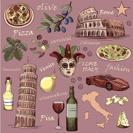 Conjunto de Italia iconos dibujados a mano con la comida nacional italiana, lugares de interés, mapa y la bandera. Coliseo, Pompeya, el Vaticano, la torre inclinada de Pisa, Venecia, la pizza, el vino, la máscara del carnaval