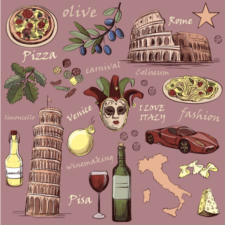 pizza place: Set of Italy icons hand drawn with national italian food, sights, map and flag. Colosseum, Pompeii, Vatican, Leaning Tower of Pisa, Venice, pizza, wine, carnival mask