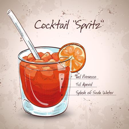 Glas spritz aperitief Aperol cocktail met sinaasappel en ijsblokjes
