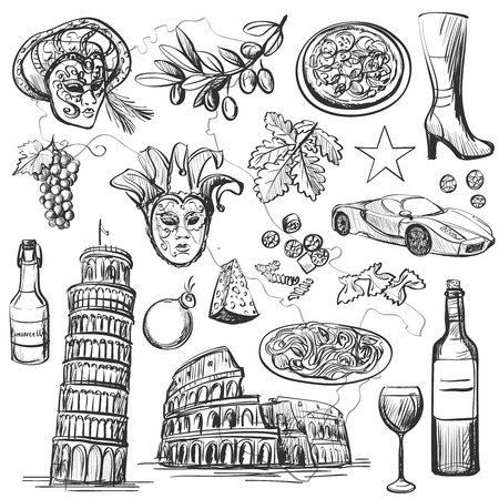 Set of Italy icons vector illustration with national italian food, sights, map and flag. Colosseum, Pompeii, Vatican, Leaning Tower of Pisa, Venice, pizza, wine, carnival mask