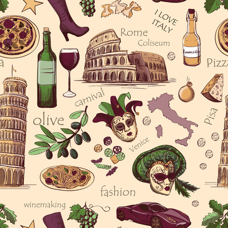 pompeii: Seamless pattern of Italy with Colosseum, Pompeii, Vatican, Leaning Tower of Pisa, Venice, pizza, wine, carnival mask Illustration