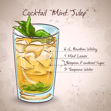 Classic Kentucky derby cocktail de Munt Julep. Het bestaat uit Bourbon, mint, poedersuiker, water, gemalen ijs