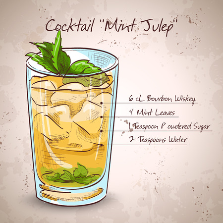 Classic Kentucky derby cocktail the Mint julep. It consists of Bourbon, mint, powdered sugar, water, crushed ice