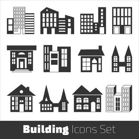 simplus: Building Icons Set. Vector illustration. Simplus series
