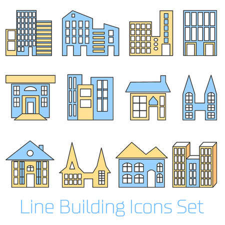 simplus: Colored line Building Icons Set. Vector illustration. Simplus series