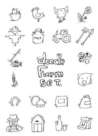 rakes: Hand drawn Farm icon set - cow, goat, pig, chicken, rooster, horse, turkey, tractor, rakes, sunflowers, cabbage, carrots, eggs, milk, haystack and other