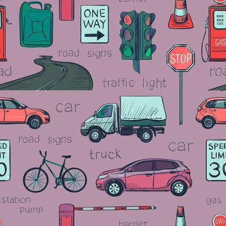 Seamless des lois Icônes de trafic: le trafic lumières, signes, voitures, route, la police, l'attention et l'autre