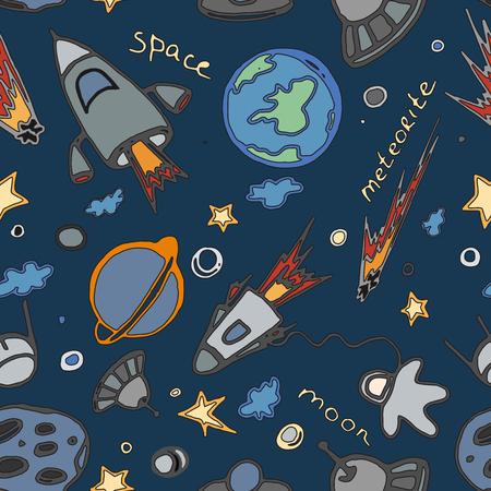 Ręcznie rysowane kosmosu Doodle bez szwu wzór, doskonała ilustracji wektorowych