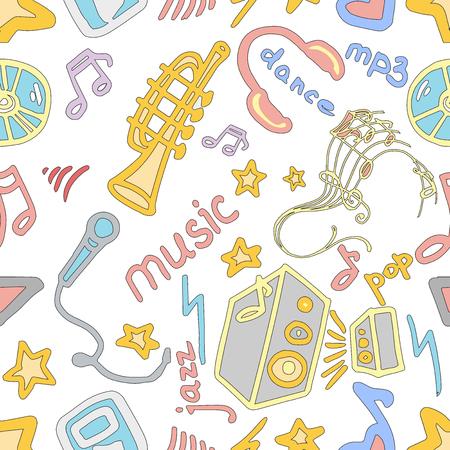 cd recorder: Music Doodle symbols. Seamless pattern. Vector illustration