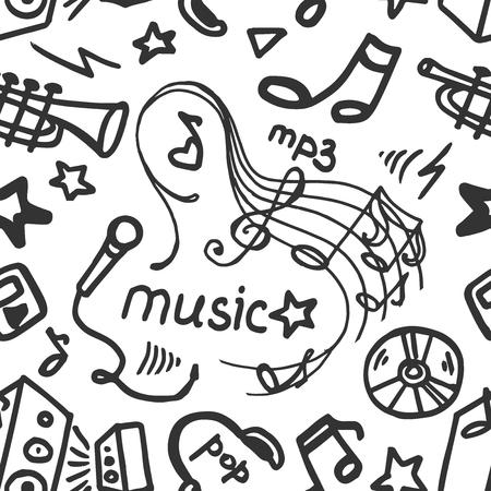 cd recorder: Music Doodle symbols. Seamless pattern. Vector illustration,