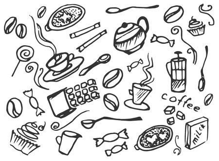 kitchen cooking: Doodle vector set of coffee, vector illustration,   Illustration