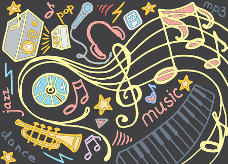 cd recorder: Doodle vector set of music. Vector illustration