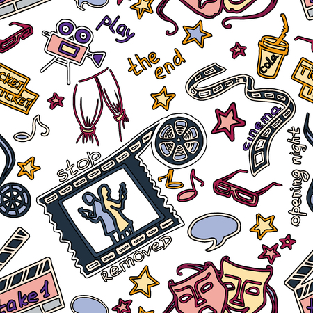 hd: Colorful vector hand drawn pattern of objects and symbols on the cinema theme Illustration