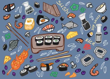 egg roll: Japanese food - sushi doodle set , vector illustration Illustration